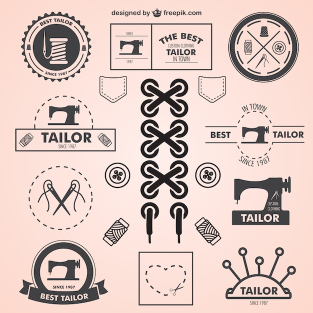 Vintage Tailor Symbols Set Vector Free Download