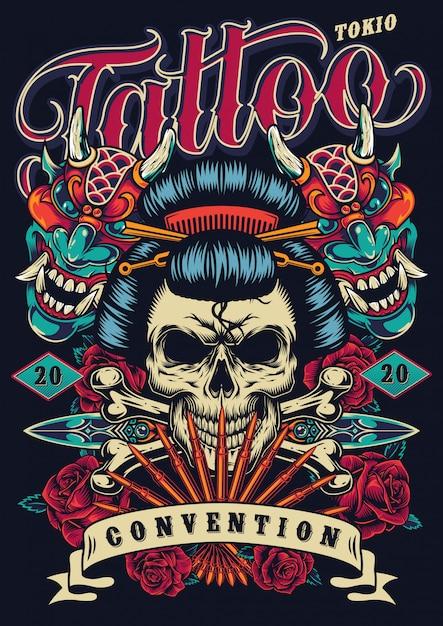 Manifesto del festival del tatuaggio vintage Vettore gratuito