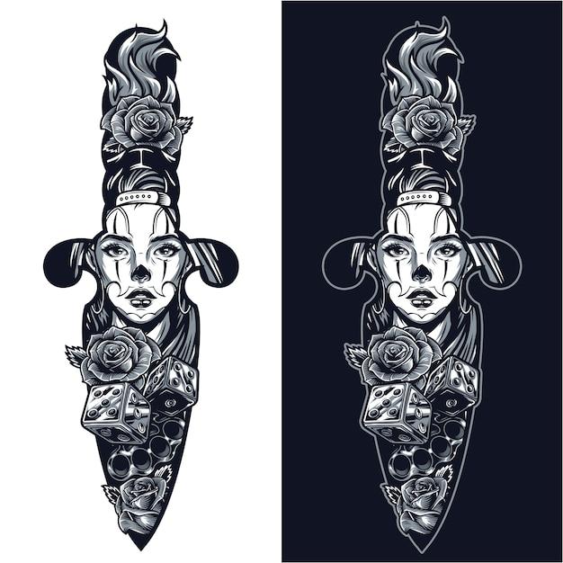 短剣の形の概念のヴィンテージのタトゥー 無料ベクター