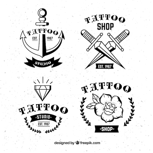 Vintage tattoo logo collection Free Vector