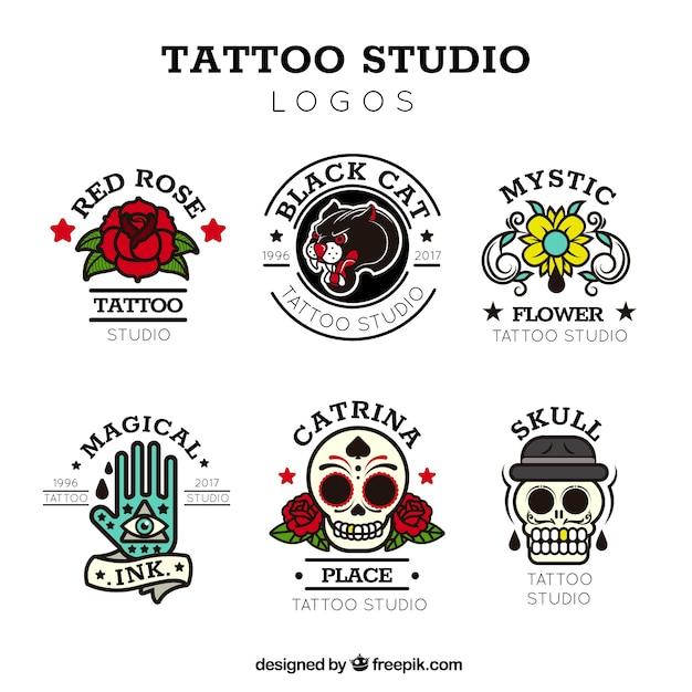 Коллекция vintage tattoo logo Бесплатные векторы