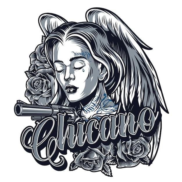 かわいいチカーノの女の子のヴィンテージのタトゥー 無料ベクター
