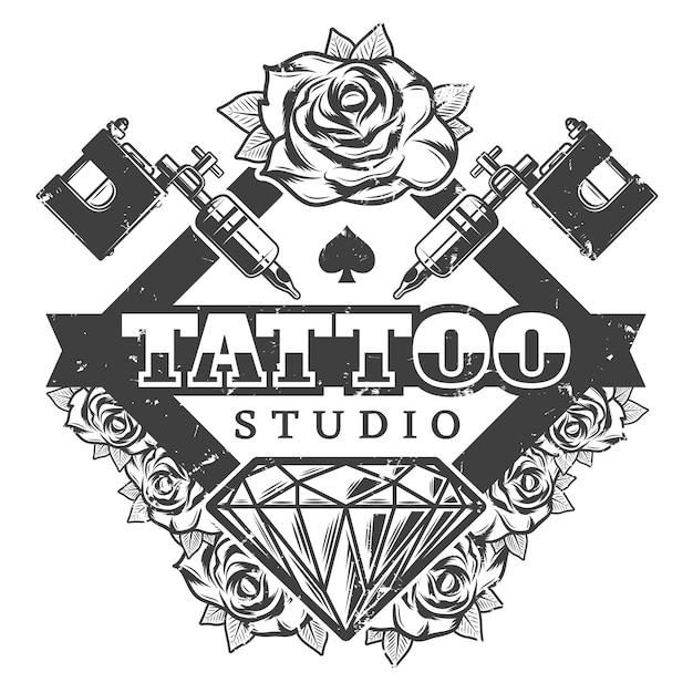 Modello di logotipo del salone del tatuaggio dell'annata Vettore gratuito