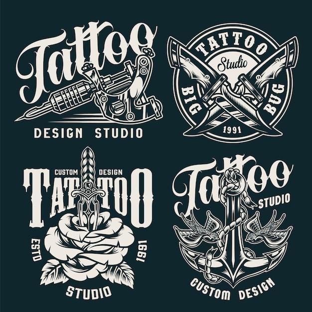 Винтажные значки студии татуировки Бесплатные векторы