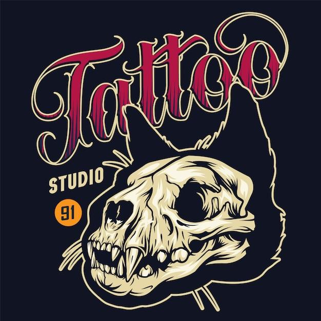Винтажная тату-студия красочный значок Бесплатные векторы