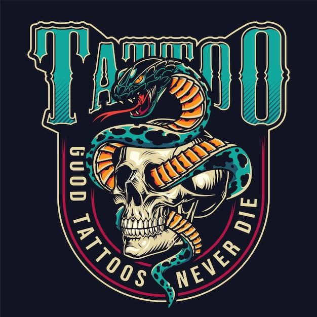 Vintage tattoo studio colorful label Free Vector