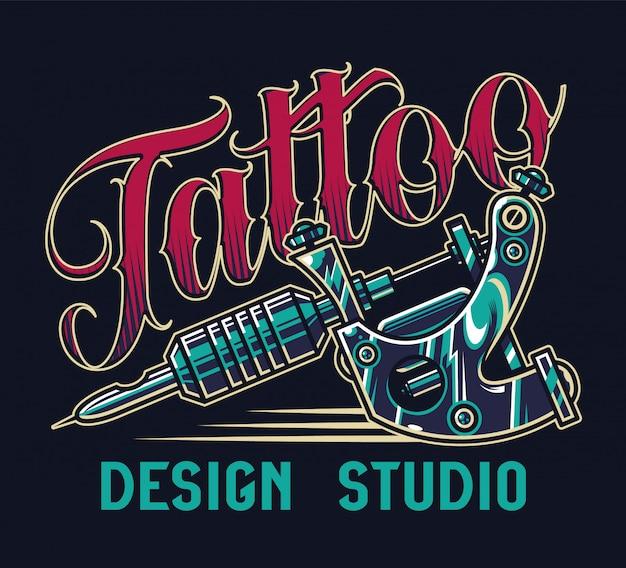 Винтажная тату студия с красочным принтом Бесплатные векторы