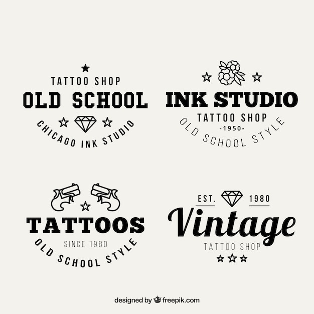 8ab395700b22a Vintage tattoo studio logos Vector | Free Download