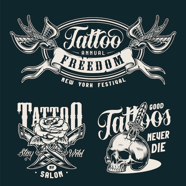 Vintage tattoo studio monochrome badges Free Vector