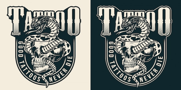 Vintage tattoo studio monochrome label Free Vector