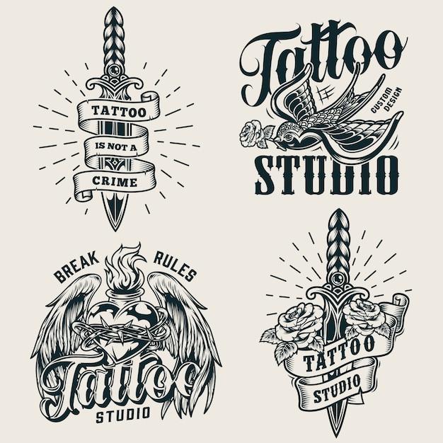 Vintage tattoo studio monochrome logos Free Vector