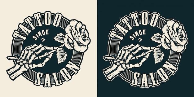 Emblema rotondo monocromatico dello studio del tatuaggio dell'annata Vettore gratuito