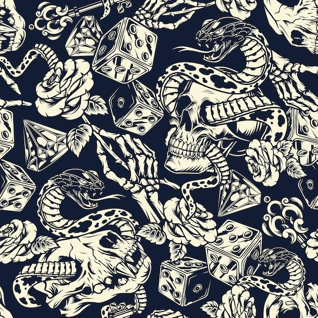 Seamless pattern di tatuaggi vintage Vettore gratuito