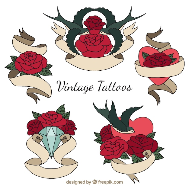 Vintage tattoos with roses and hand drawn\ ribbons