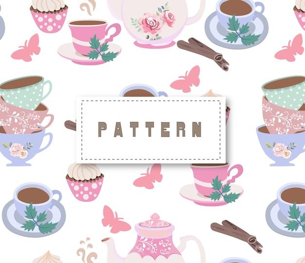 Vintage tea party seamless pattern Premium Vector