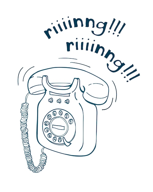 Vintage telephone hand drawn line illustration. sketch style Premium Vector