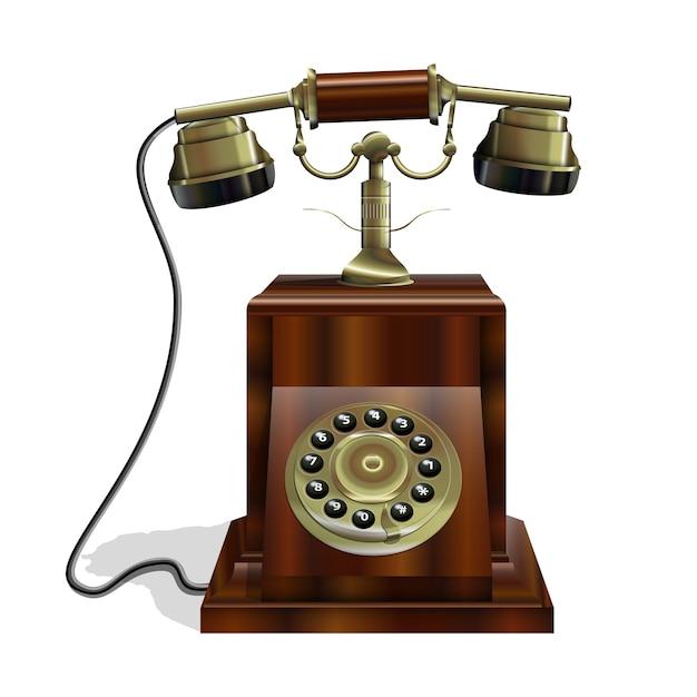 木製の本体と金のチューブを備えたヴィンテージ電話 無料ベクター