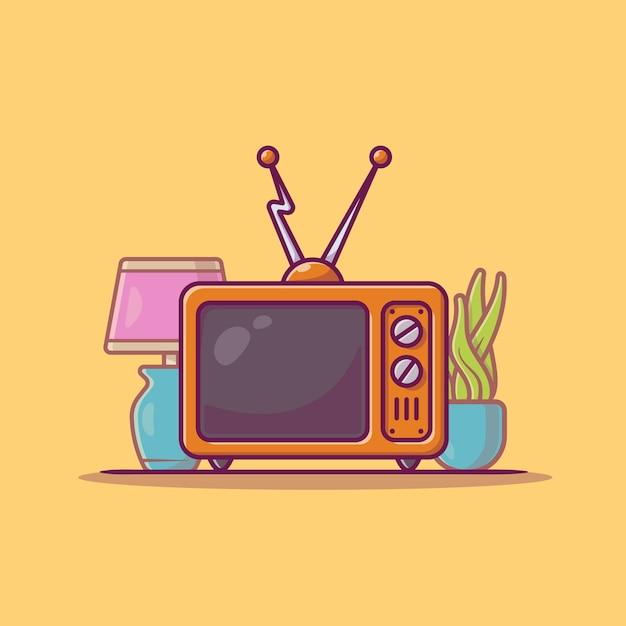 Vintage television cartoon icon illustration. Free Vector