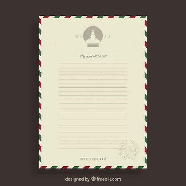Vintage template of a christmas letter to a friend vector free vintage template of a christmas letter to a friend free vector maxwellsz
