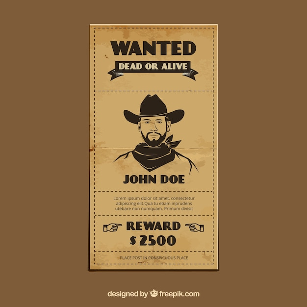Vintage Template Of Wanted Poster  Free Wanted Poster Template Download