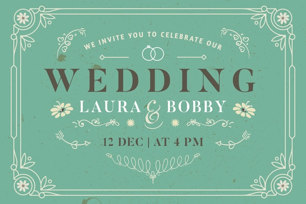 Vintage template wedding invitation Free Vector