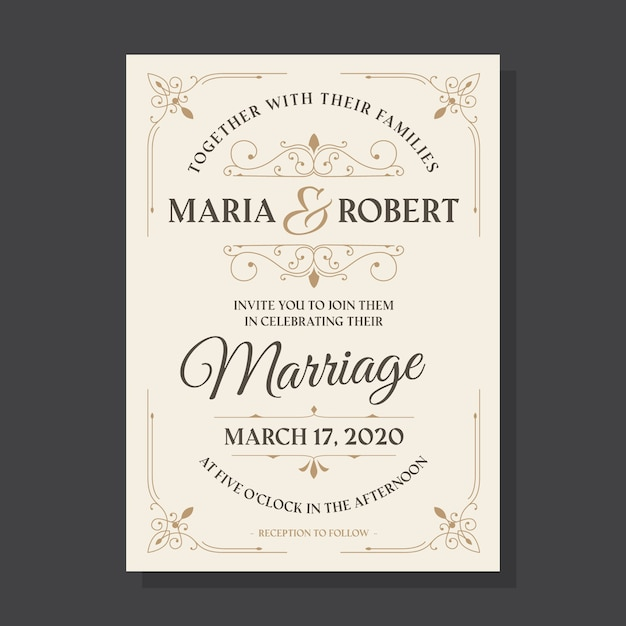 Vintage template wedding invitation Free Vector