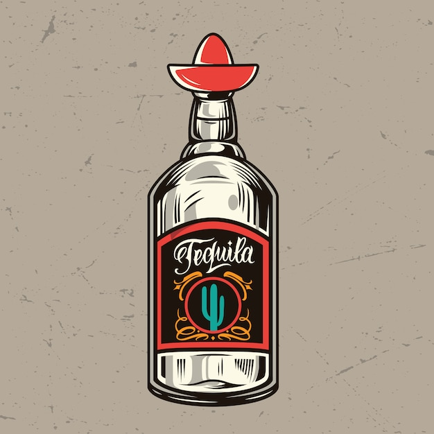 Vintage tequila bottle concept Free Vector