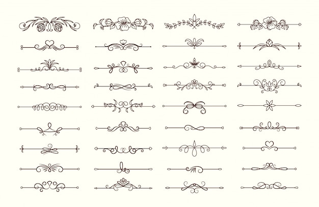 Vintage text dividers collection Premium Vector