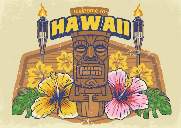 Vintage textured hawaii tiki Premium Vector