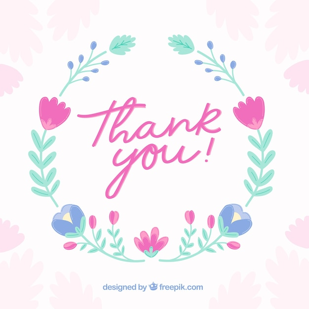 Vintage Thank You Background With Floral Wreath Vector