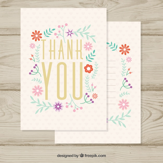 Vintage thank you card with small\ flowers