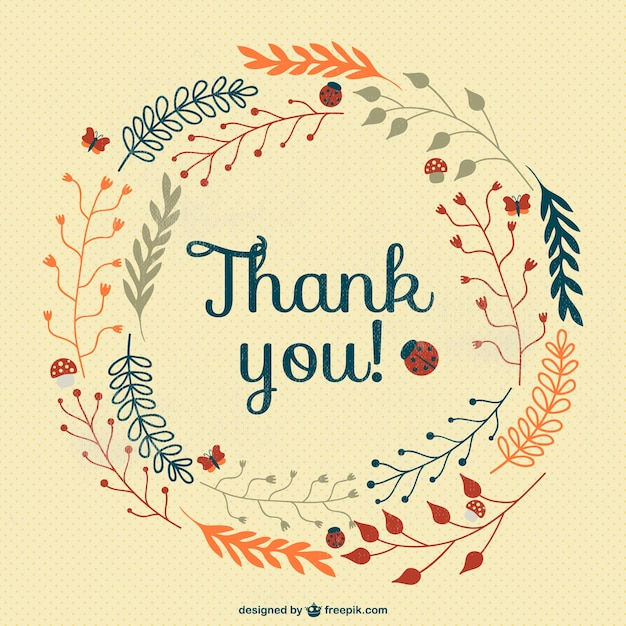 vintage thank you card vector free download