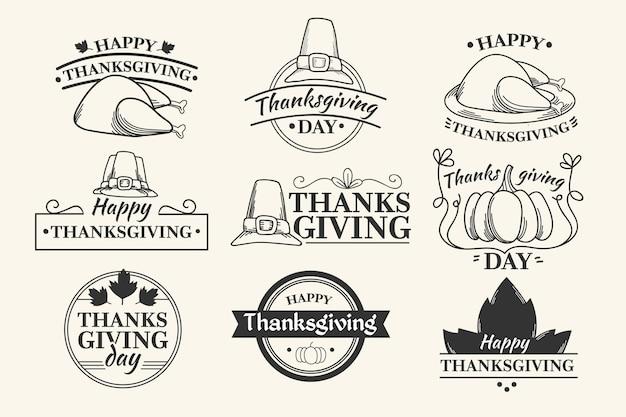 Винтажная коллекция значков благодарения Бесплатные векторы