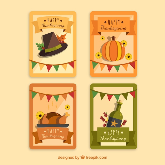 Vintage thanksgiving card set
