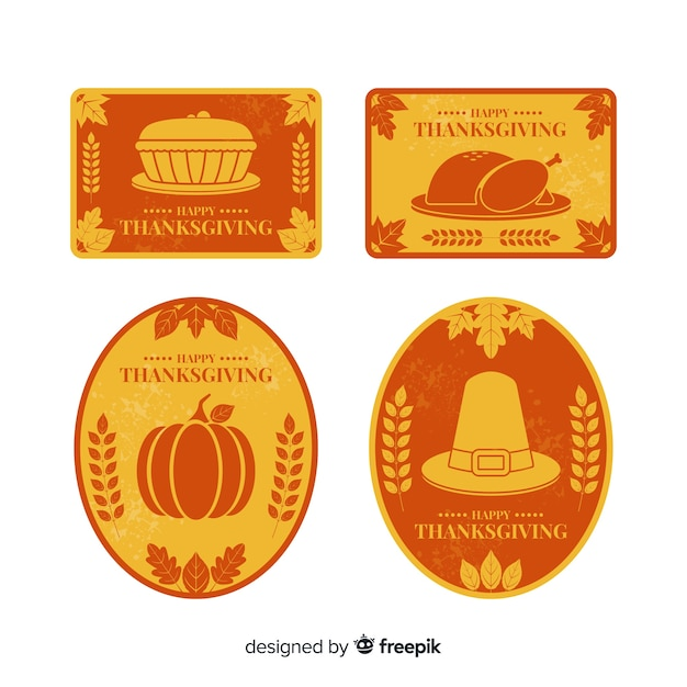 Vintage thanksgiving label collection Free Vector
