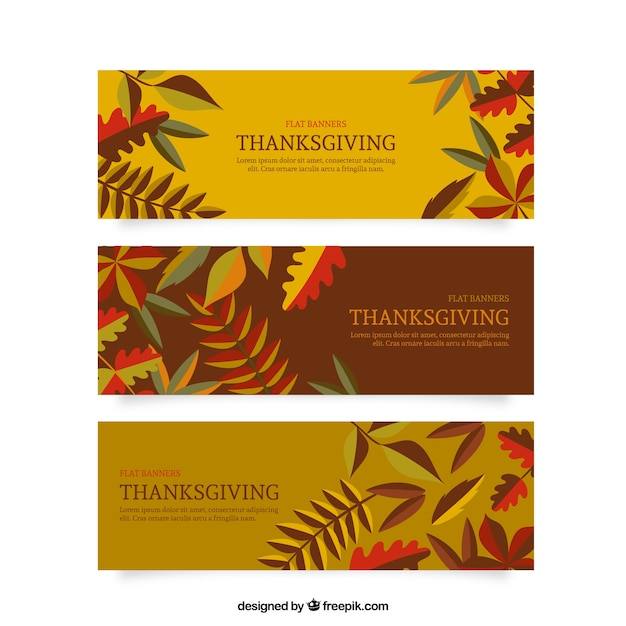 Vintage thanksgiving leaves banners