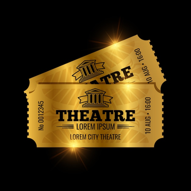 Vintage theatre tickets template. golden tickets isolated Premium Vector