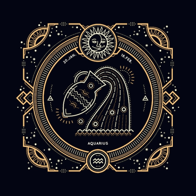 Vintage thin line aquarius zodiac sign label. retro  astrological symbol, mystic, sacred geometry element, emblem, logo. stroke outline illustration. Premium Vector