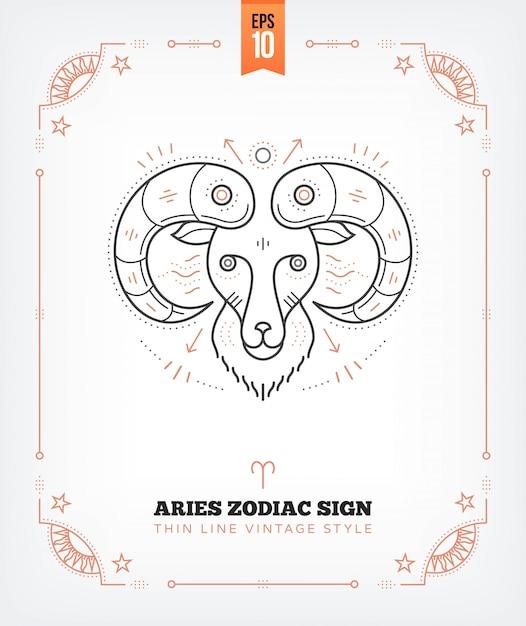 Урожай тонкая линия овен знак зодиака. ретро астрологический символ, мистик, элемент сакральной геометрии, эмблема, логотип. инсульт наброски иллюстрации. изолированные на белом Premium векторы