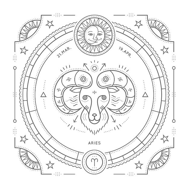 Винтаж тонкая линия этикетка знак зодиака овен. ретро астрологический символ, мистик, элемент сакральной геометрии, эмблема, логотип. инсульт наброски иллюстрации. на белом фоне. Premium векторы