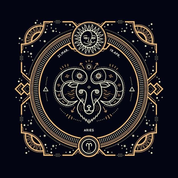 Винтаж тонкая линия этикетка знак зодиака овен. ретро астрологический символ, мистик, элемент сакральной геометрии, эмблема, логотип. инсульт наброски иллюстрации. Premium векторы