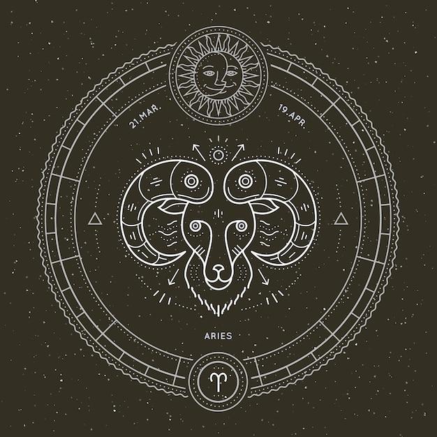 Vintage thin line aries zodiac sign label. retro vector astrological symbol, mystic, sacred geometry element, emblem, logo. stroke outline illustration. Premium Vector