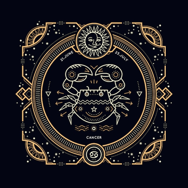 Vintage thin line cancer zodiac sign label. retro  astrological symbol, mystic, sacred geometry element, emblem, logo. stroke outline illustration. Premium Vector