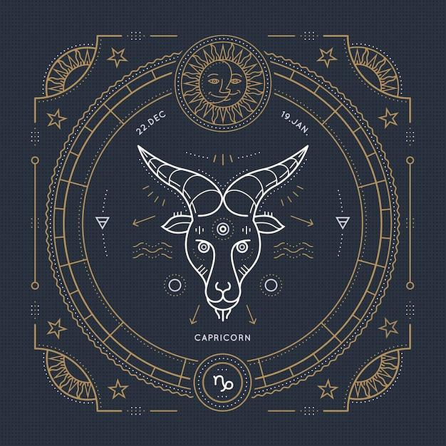 Vintage thin line capricorn zodiac sign label. retro  astrological symbol, mystic, sacred geometry element, emblem, logo. stroke outline illustration. Premium Vector