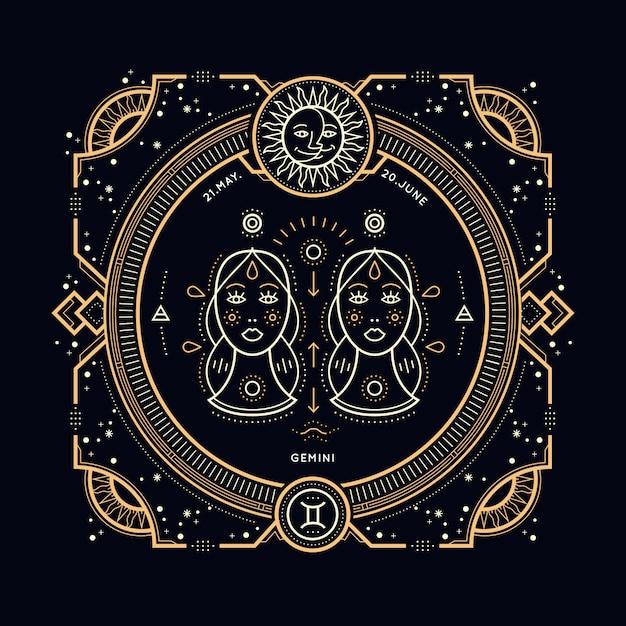 Vintage thin line gemini zodiac sign label. retro  astrological symbol, mystic, sacred geometry element, emblem, logo. stroke outline illustration. Premium Vector