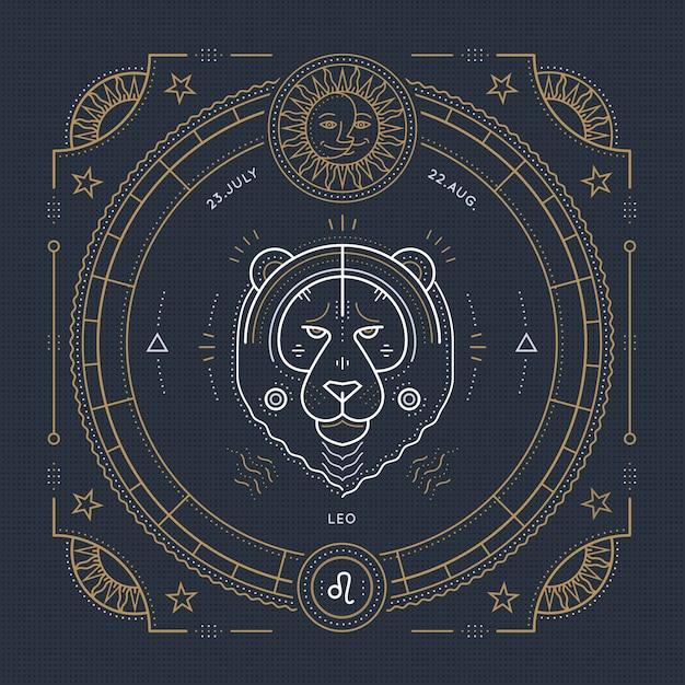 Vintage thin line leo zodiac sign label. retro  astrological symbol, mystic, sacred geometry element, emblem, logo. stroke outline illustration. Premium Vector