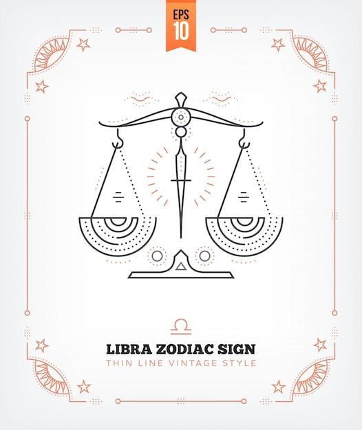 ヴィンテージ細い線天秤座干支標識ラベル。レトロな占星術のシンボル、神秘的な神聖な幾何学要素、エンブレム、ロゴ。ストロークの概要図。白で隔離 Premiumベクター