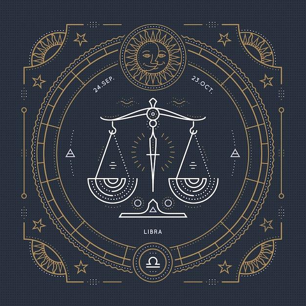 Vintage thin line libra zodiac sign label. retro  astrological symbol, mystic, sacred geometry element, emblem, logo. stroke outline illustration. Premium Vector