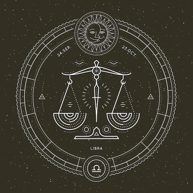 ヴィンテージ細い線天秤座干支標識ラベル。レトロなベクトル占星術のシンボル、神秘的な神聖な幾何学要素、エンブレム、ロゴ。ストロークの概要図。 Premiumベクター