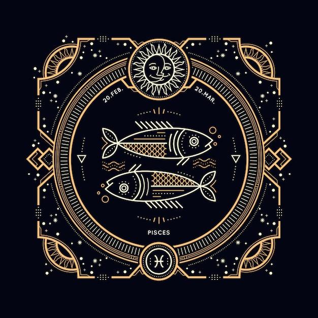 Vintage thin line pisces zodiac sign label. retro  astrological symbol, mystic, sacred geometry element, emblem, logo. stroke outline illustration. Premium Vector